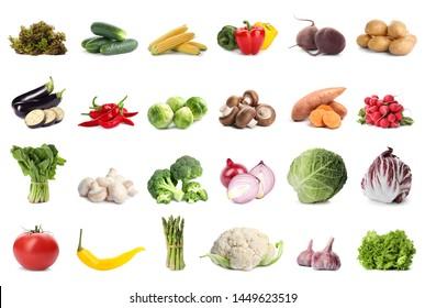 Set of different fresh vegetables on white background