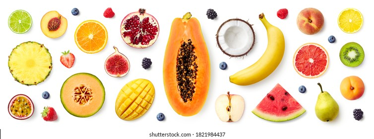 Set of different fruits and berries isolated on white background, top view, flat lay - Shutterstock ID 1821984437