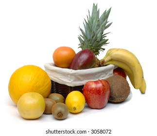 Set of different fruits isolated on white