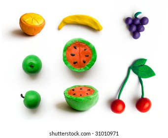 set of different fruits. isolated with path.