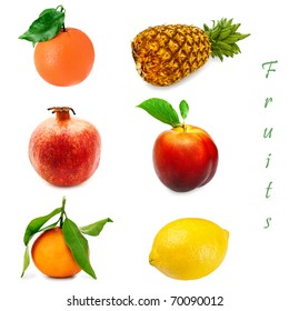Set of different fruits over the white background