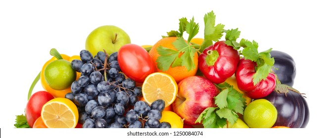 Set of different fruits and vegetables isolated on white background. Wide photo .