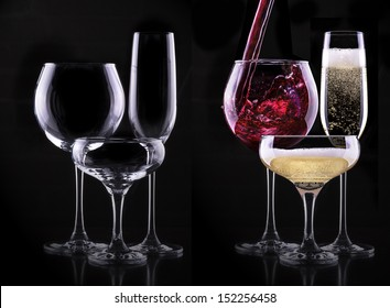 set with different full and empty glasses on black background - champagne,cocktail,wine,brandy,whiskey,scotch,vodka,cognac