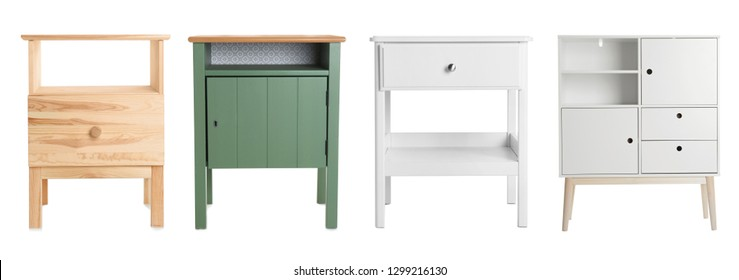 Set of different furniture for wardrobe isolated on white