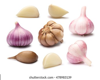 Set of different garlic bulbs, cloves, peeled, split and whole. Clipping paths, shadows separated. Design elements