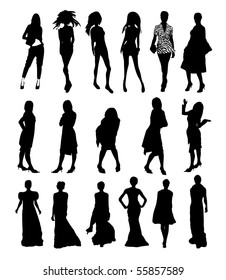 set of different girl silhouette