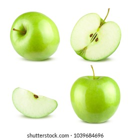 Set of Different Green Apples Isolated on White Background