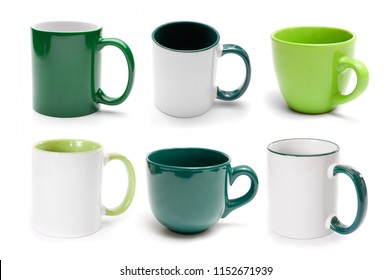 Set of different green cups isolated on a white background