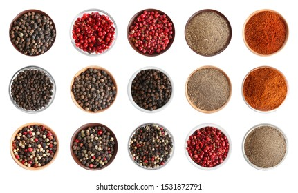 Set with different ground peppers and corns on white background, top view