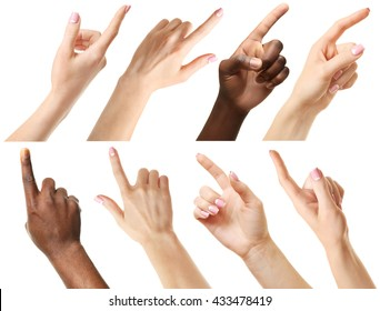 Set of different hands touching or pointing to something, isolated on white