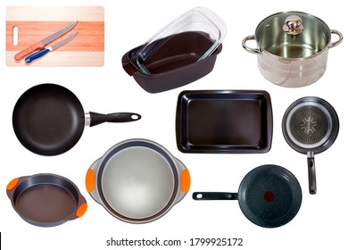 Set of different household pan. Isolated on white background