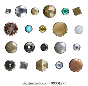 Set of different jeans buttons, rivets and studs isolated on white background