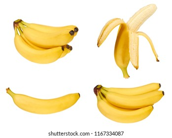 set of different juicy delicious and healthy ripe banana, isolated on white background