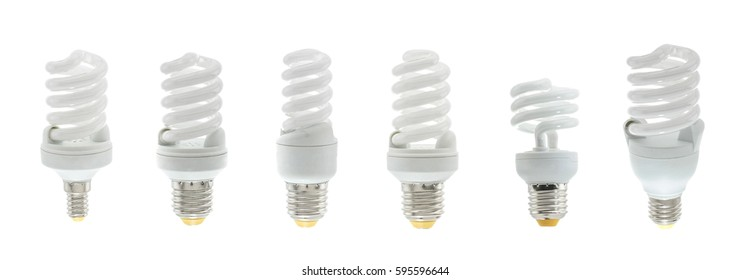 Set of different kind Energy saving light bulb on a white background