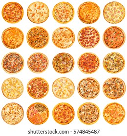 Set of different kind of pizza isolated on white background