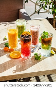 set of different kinds of smoothie