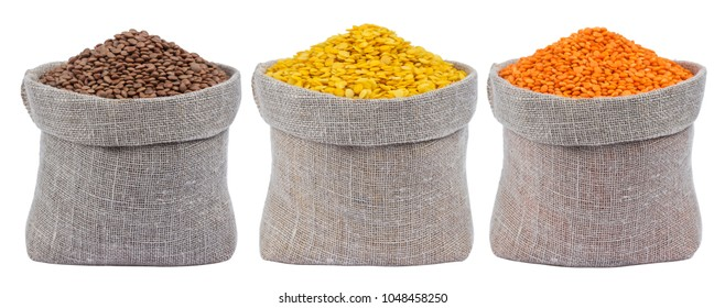 Set of different lentils in bags isolated on white background
