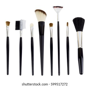 A set of different make-up brushes