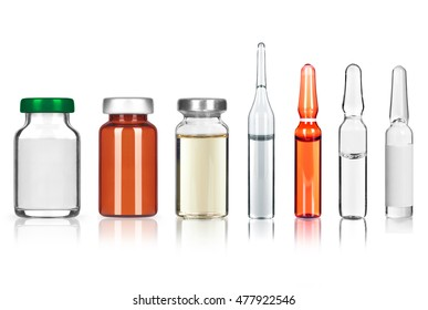 set of different medical ampoules on white background