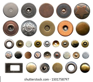 Set of different metal buttons and rivets. Vintage fushion accessories close-up isolated on a white background. Denim culcure modern style. Trousers and jackets elements isolated on white background