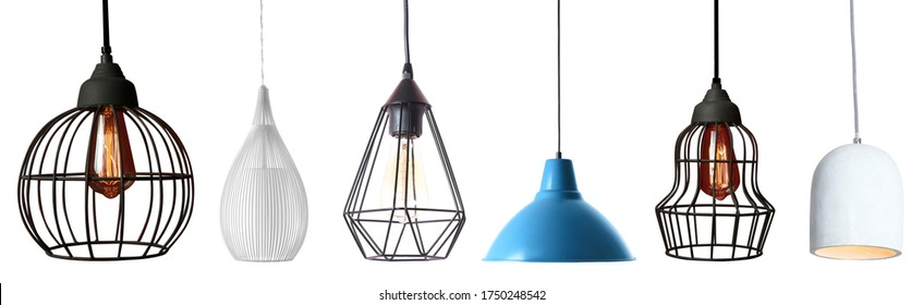 Set of different modern hanging lamps on white background. Banner design