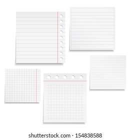 Set of different notebook paper