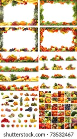 Set of different nutrition elements. Necessary for  food designs.