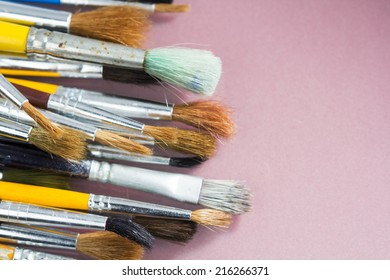 Set of different paintbrushes with white background