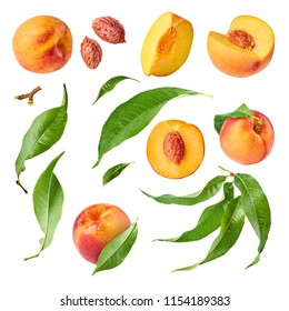 Set with different parts of fresh ripe peaches and leaves,  High resolution image