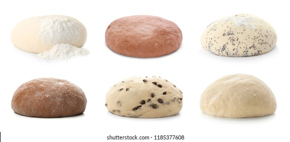 Set with different raw doughs on white background