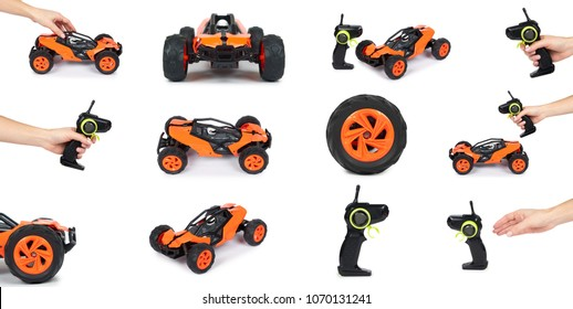 set of different RC model rally, off road buggy with remote control with hand. Isolated on white background, joy and fun sport.