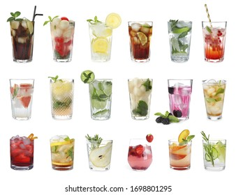 Set with different refreshing cocktails on white background