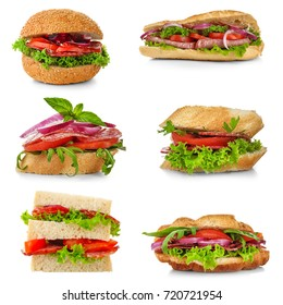 Set of different sandwiches with sausage slices on white background