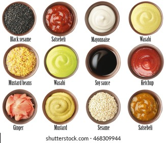 Set of different sauces with names on white background.