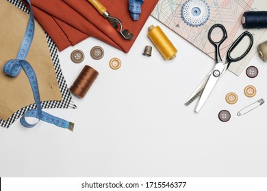 Set of different sewing items isolated on white background