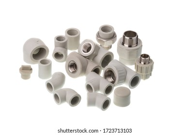 Set of different shape plastic PPR fittings for water pipes, isolated on white background