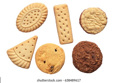 Set of different shortbread cookies isolated on white background, top view