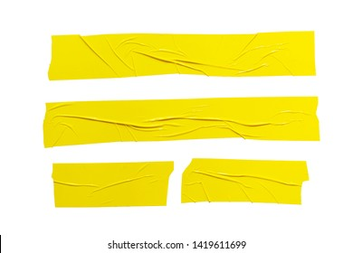 Set of  different size yellow adhesive sticky tapes. Torn crumpled sellotape pieces collection isolated on white background