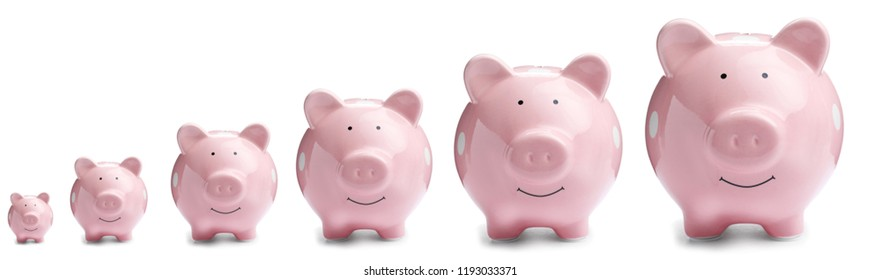 Set with different sized piggy banks on white background