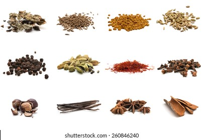Set of different spices. Isolated on white background