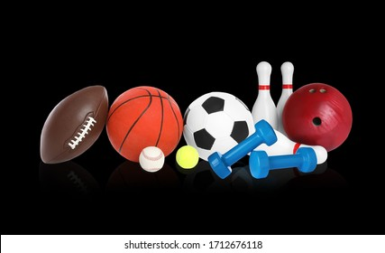 Set of different sport equipment on black background