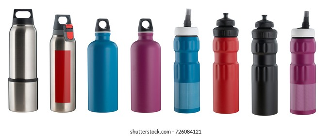 Set of different sport water bottles isolated on white. High resolution
