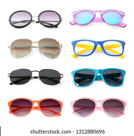 Set of different stylish sunglasses on white background. Beach accessories