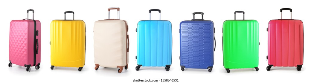 Set of different suitcases on white background