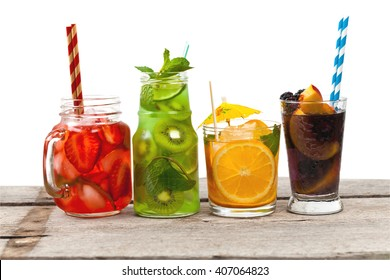 Set of different Summer Drinks, Cocktails with fruit on white background. Selective focus.