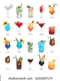 Set of different tasty cocktails on white background