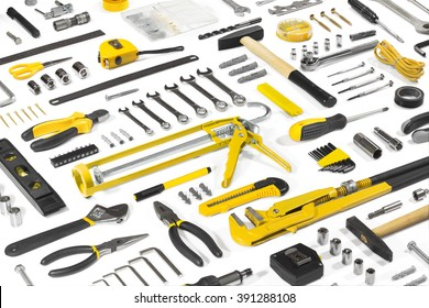 Set of different tools over white background.