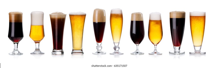 Set of different types of beer in glasses isolated on white background
