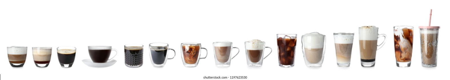 Set with different types of coffee drinks on white background