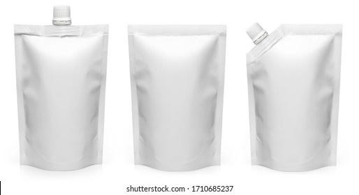 Set of different types of white doypack, isolated on white background